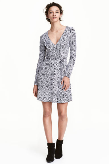 Wrap dress - White/Black patterned - Ladies | H&M