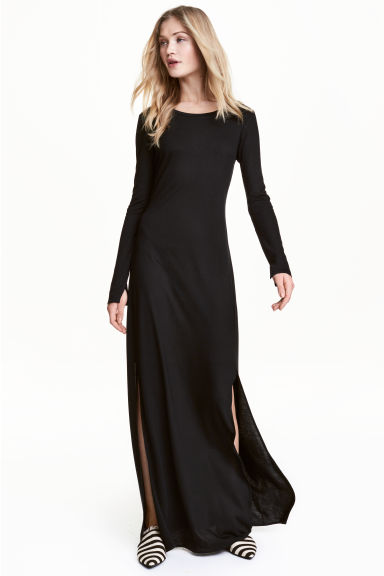 Jersey maxi dress - Black - Ladies | H&M CN 1