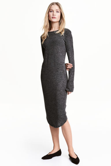 Marled jersey dress - Dark grey - Ladies | H&M 1