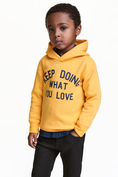 Print-motif hooded top - Yellow - Kids | H&M