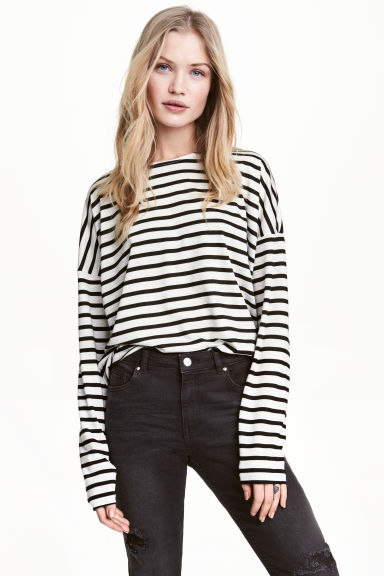 Striped jersey top - Light grey/Striped -  | H&M 1