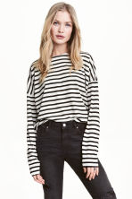 Striped jersey top - Light grey/Striped - Ladies | H&M CN 1