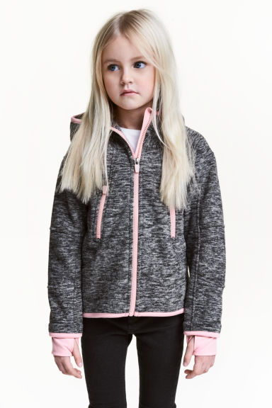 Hooded fleece jacket - Dark grey marl - Kids | H&M CN 1