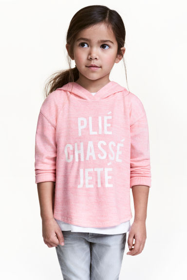 Hooded fine-knit top - Light pink marl - Kids | H&M 1