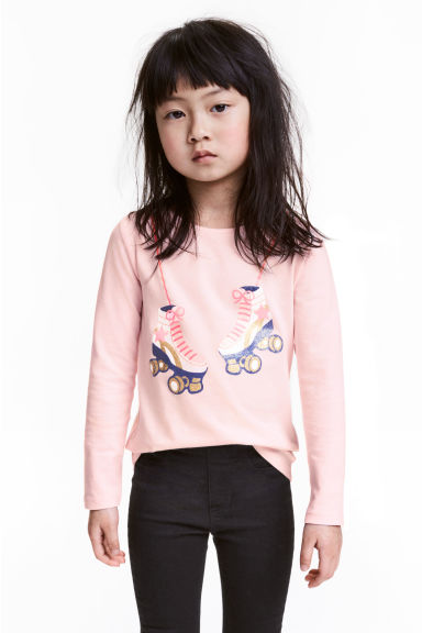 Long-sleeved top - Light pink - Kids | H&M CN