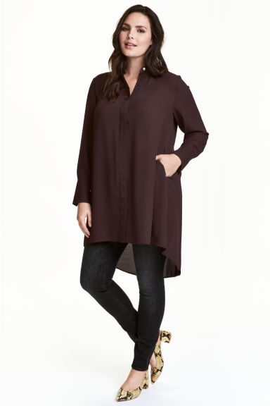 Crêpe tunic - Dark plum - Ladies | H&M CN 1