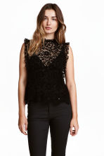 Frilled lace blouse - Black - Ladies | H&M 1