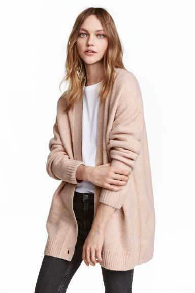 Oversized cardigan - Powder marl - Ladies | H&M