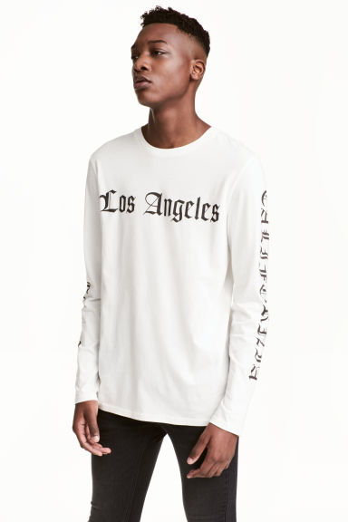 Printed long-sleeved T-shirt - White/Los Angeles - Men | H&M CN 1