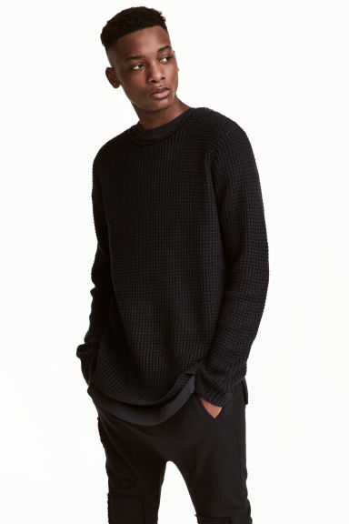 Textured-knit jumper - Black - Men | H&M CN 1