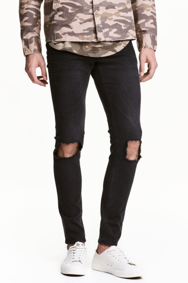 Super Skinny Trashed Jeans - Black denim - Men | H&M CN 1