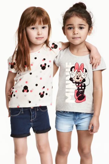 2-pack jersey tops - Light grey/Minnie Mouse - Kids | H&M CN 1