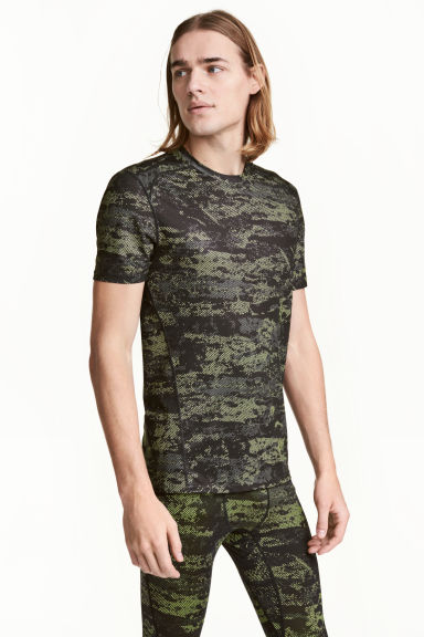 Short-sleeved sports top - Neon green/Patterned - Men | H&M