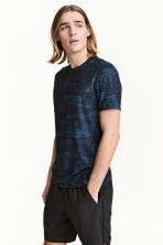 Short-sleeved sports top - Blue/Patterned - Men | H&M 1