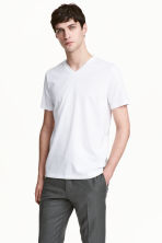 Premium cotton T-shirt - White - Men | H&M CN 1