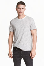 Round-neck T-shirt Regular fit - White/Striped - Men | H&M 1
