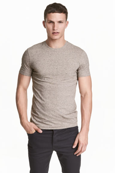 Round-neck T-shirt Slim fit - Beige marl - Men | H&M 1
