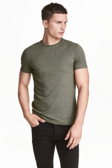 Round-neck T-shirt Slim fit - Khaki green marl - Men | H&M CN 1