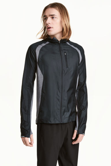 Running jacket with a hood - Black/Grey marl - Men | H&M