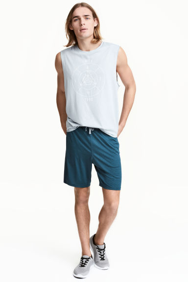 Knee-length sports shorts - Grey-blue marl - Men | H&M CN 1