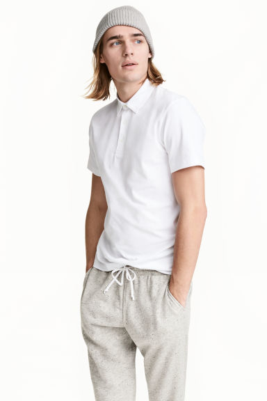 Polo shirt Slim Fit - White - Men | H&M CN 1