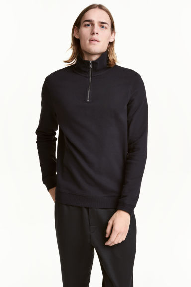 Sweatshirt with a collar - Black -  | H&M 1