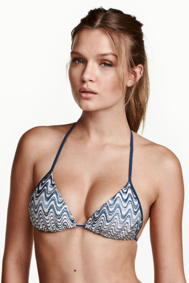 Triangle bikini top - Storm blue/White - Ladies | H&M 1