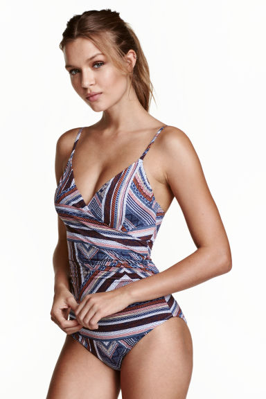 Shaping swimsuit - Dark blue/Patterned - Ladies | H&M CN 1