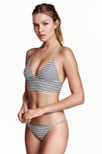Tanga bikini bottoms - Black/White/Striped - Ladies | H&M 1