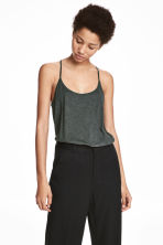 Top in slub jersey - Dark green - Ladies | H&M 1