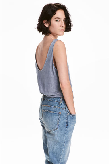 Linen jersey top - Blue-grey -  | H&M CN