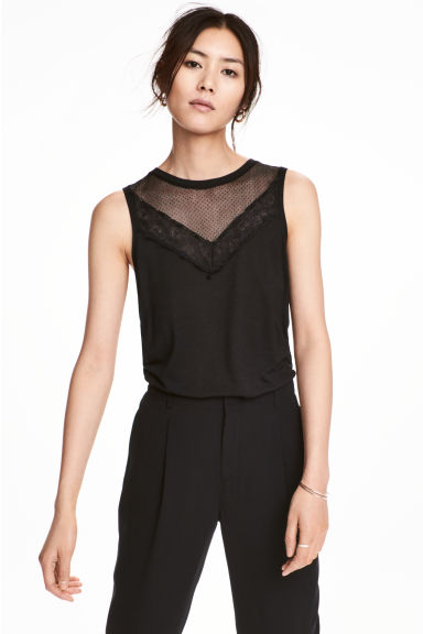 Jersey top with lace - Black - Ladies | H&M CA 1
