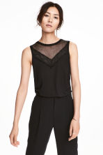 Jersey top with lace - Black - Ladies | H&M 1