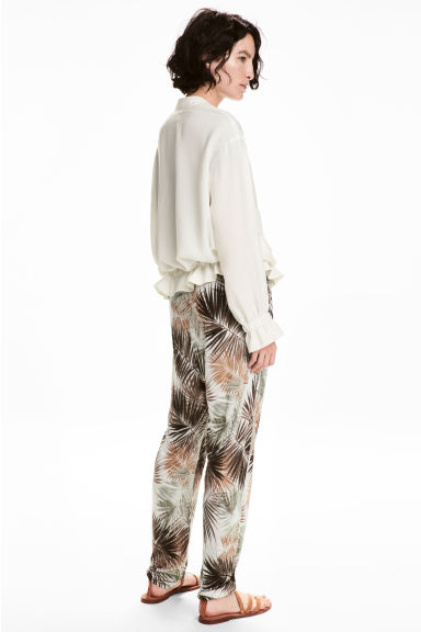 Jersey trousers - White/Palm leaf - Ladies | H&M 1