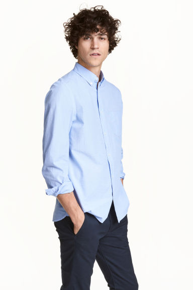 Cotton shirt Regular fit - Light blue - Men | H&M