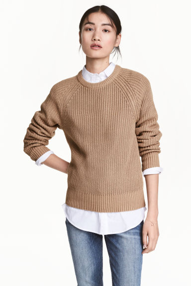 Stocking-stitched jumper - Beige -  | H&M 1