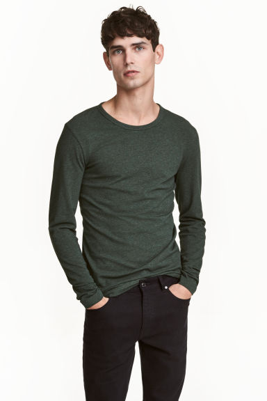 Long-sleeved T-shirt Slim fit - Dark green marl - Men | H&M 1