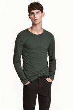 Long-sleeved T-shirt Slim fit - Dark green marl - Men | H&M CN 1