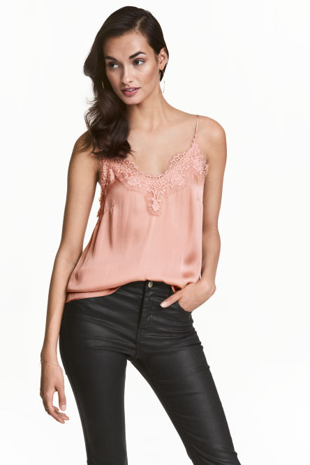 Satin strappy top with lace