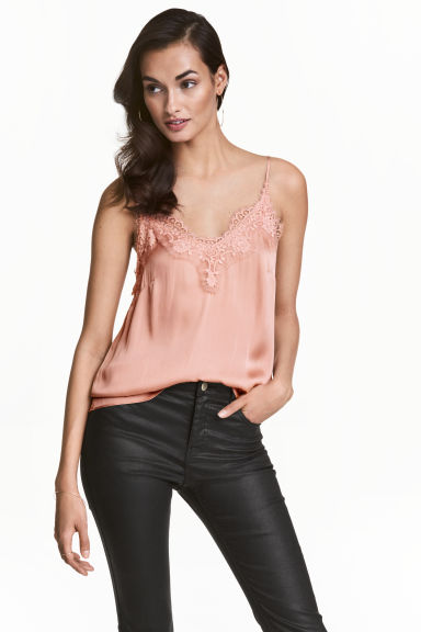 Satin strappy top with lace - Powder pink - Ladies | H&M 1