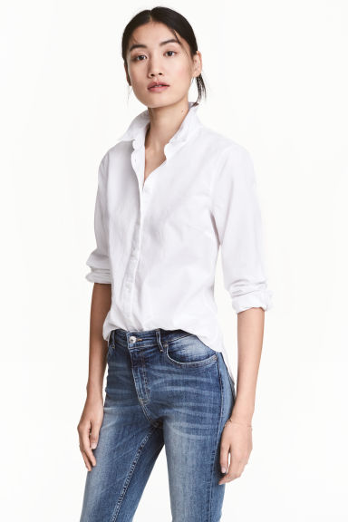 Cotton shirt - White - Ladies | H&M