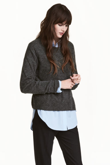 加大碼套衫 - Dark grey marl -  | H&M