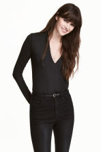 V-neck top - Black - Ladies | H&M CA 1