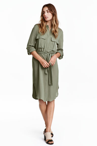Shirt dress - Khaki green -  | H&M