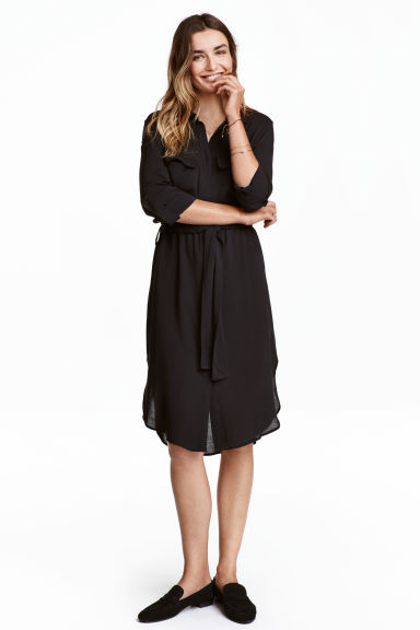 Shirt dress - Black - Ladies | H&M 1
