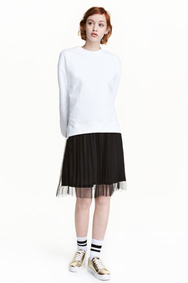Pleated tulle skirt - Black - Ladies | H&M CA 1