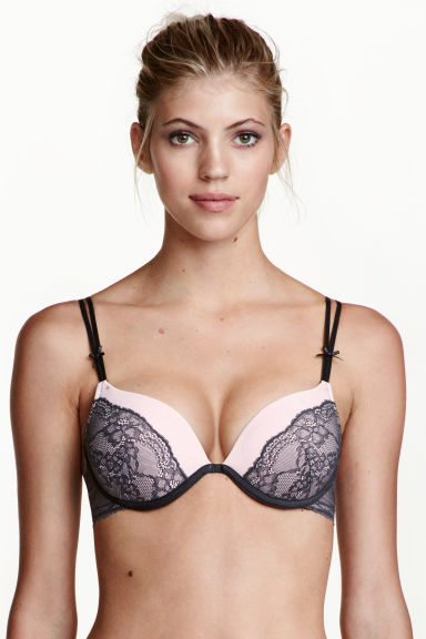 Microfibre super push-up bra - Dark grey/Light pink - Ladies | H&M 1