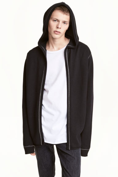 Hooded cardigan - Black - Men | H&M CN 1
