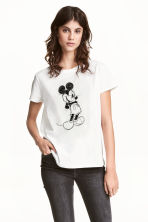 Top with a print motif - White/Mickey Mouse - Ladies | H&M 1