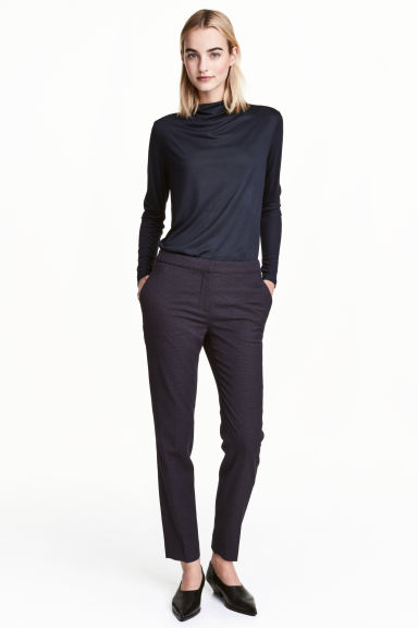 Suit trousers - Dark blue/Spotted - Ladies | H&M CN 1